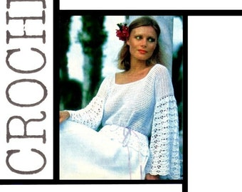Vintage 70's Crochet Blouse - PDF Pattern - Digital Pattern