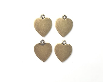 Heart Charms, Antique Gold Plated Brass, 11x10 mm, 4 pcs, charm for bracelet, charm for necklace, jewelry making supply