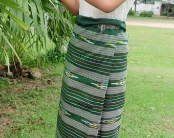 Hand Woven Boho Festival Wrap Skirt Indigo blue skirt Thai Sarong Wrap Thai Tradition Cotton Skirt Hand Spun Long Skirt Jupe Thai