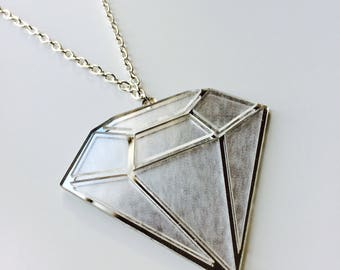 Sale | Diamond | Strong | Shine Bright | Mirrored | Silver | Laser Cut | Acrylic | Necklace
