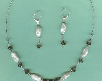 NECKLACE SET  Smokey Quartz, Stick Cultured Freshwater Pearls Sterling Silver Drop Set