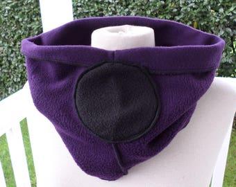Snood scarf neck scarf fleece woman black and purple
