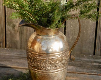 Vintage Silverplate Pitcher, Antique Floral Silverplate Water Pitcher