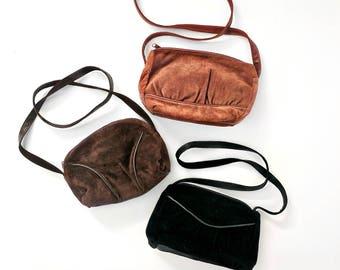 vintage suede purse lot | set of 3 messenger bags | gift set