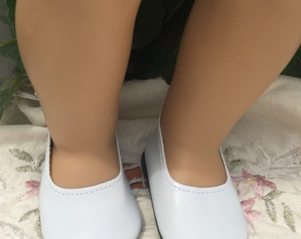 AG doll shoes, white ballet flats, 18 Inch doll shoes, shoes for dolls like american dolls accessories ballet leather flats
