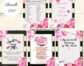 BRIDAL SHOWER Digital Invitation Bundle  Blush Pink Peony Black and White Stripes Gold Modern Bridal Shower Decor DIY Invite-Loveys Paperie