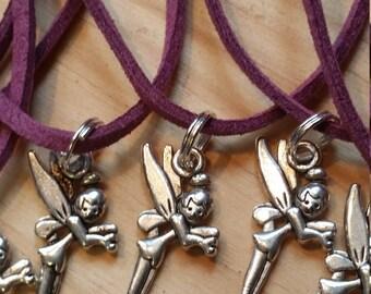 Lot de 10 parti faveurs colliers fée charmes Purple Suede cordon libres Clearance Sale point d'expédition