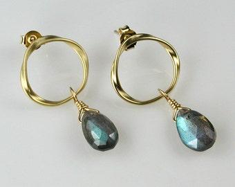 Labradorite Gold Twisted Circle Earrings -