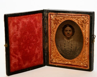 Daguerreotype 1/9 Plate Civil War Era Photograph w/Wooden Case