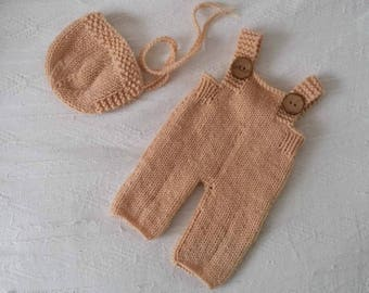 RTS Knit baby bonnet and dungarees in neutral beige/ OOAK newborn set photo prop