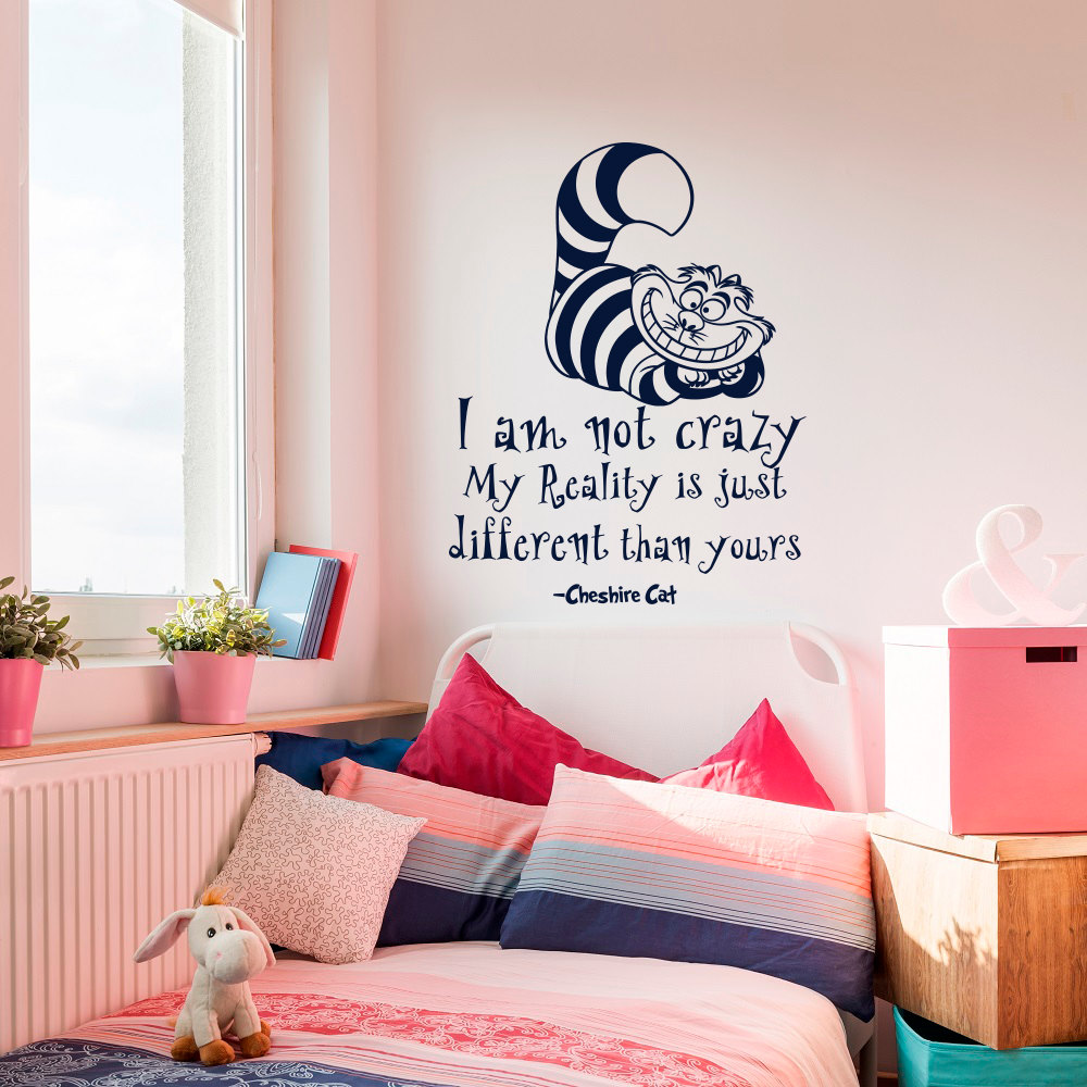 alice in wonderland wall decals quotes cheshire cat i am not. Black Bedroom Furniture Sets. Home Design Ideas