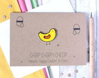 Handmade Easter Card Easter Chick Card Easter Card Easter Chick Card for Easter Happy Easter Card Cute Easter Card Cute Chick Card Fun Chirp