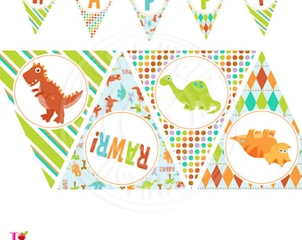 Dinosaur Rawr Printable Party Banner, Printable Dinosaur Happy Birthday Banner, Dinosaur Party Banner, Triangle Banner, Dinosaur Banner