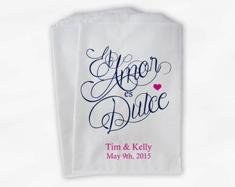 El Amor Es Dulce Calligraphy Wedding Candy Buffet Treat Bags - Personalized Favor Bags in Navy and Hot Pink - Custom Paper Bags (0122)