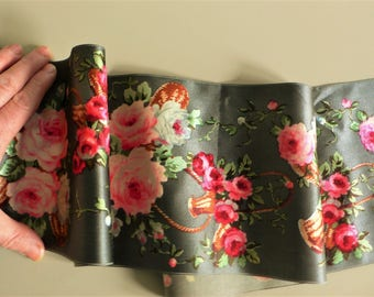 Antique vintage silk ribbon roses in baskets Flowers Wide // more available
