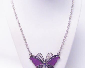 Large Silver Plated w/Purple Butterfly Pendant Necklace
