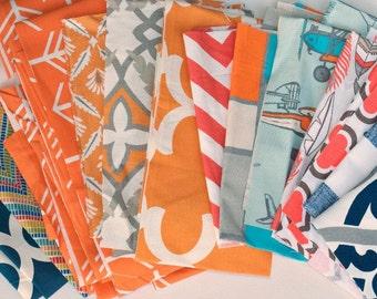 Fabric Scraps Bundle, Orange Blue White, Arrow, Chevron, Airplane, Home Decor Premier Prints REMNANT CUTS