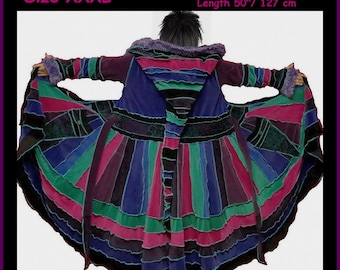 elf coat, fairy coat, rainbow coat, velvet coat, patchwork coat, gypsy coat, hippie coat, boho coat, size XXXL, plus size