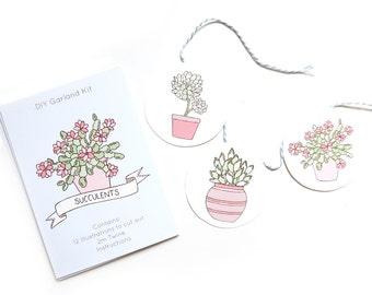 SALE Succulents DIY Garland Kit - 60% off