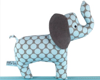 Elephant Baby Toy with Rattle - Corduroy Ear - Baby Safe - Toddler - New Baby Boy Gift - Blue and Grey