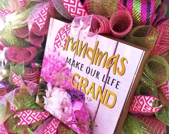Grandma's are the best, deco mesh, full,ribbon, front door wreath. Mother's day wreath