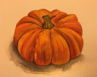 Autumn pumpkin, original watercolour