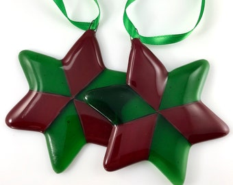 Red and Green Glass Star Ornament, 6 Pointed Star, Glass Decoration, Tree Ornament, Christmas Ornament, Fused Glass Star, Holiday Decoration