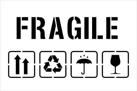 Fragile Symbol Fragiletemplate For Laser Cutting Packaging Up