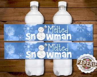 MELTED SNOWMAN WATER bottle label, Christmas Decor, Christmas Party, Birthday Party, Birthday Decor, Diy, Pink Frosting Paperie