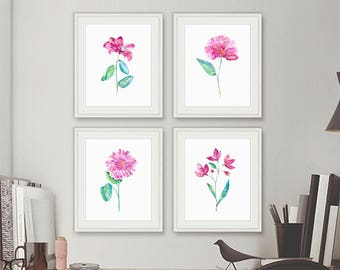 Original Watercolor flowers art print, watercolor set of 4 prints, flowers painting, floral wall art, flowers decor, gift for her - N64/67