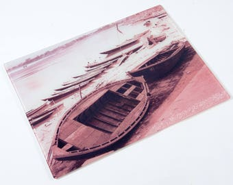 River Bank Boats Glass Worktop Saver/Chopping Board/Glass Platter