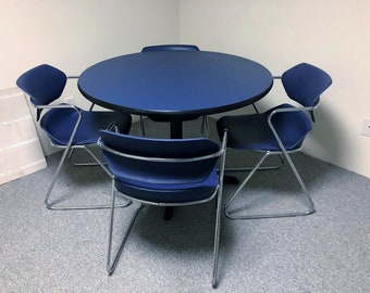 Mid-Century Modern Stacking ACTON Chairs by Hugh Acton w/ MATCHING TABLE!