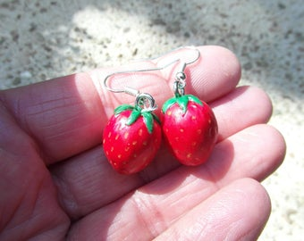 """Earrings """"strawberries antlers"""" made of cold porcelain"""