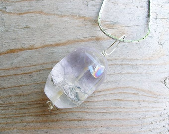 Amethyst Silver Wire Wrapped Pendant - Pastel Purple Gemstone Dangle Pendant - Spring Fashion