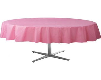 Strong Reusable 84 Inch Round Premium Plastic Table Cover   Tablecloth    Pink   Perfect For Events!