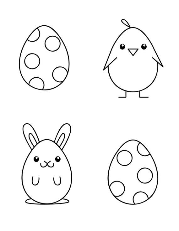 Simple Easter Coloring Page for Kids 3 Designs