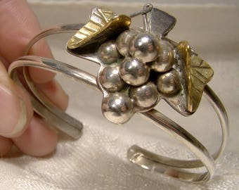 Mexican Sterling Silver Grapes and Leaves Cuff Bracelet with Gilding 1980s