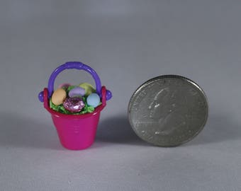Dollhouse scale Miniature handcrafted EASTER BUCKET Pail 1:12 with eggs & foil wrapped chocolate on bright grass bellflowerlane