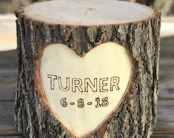 Large Log Wood Stump (7-8in) Rustic Cake Stand with wood burned Names and Date surrounded by a heart Wedding party shower wooden