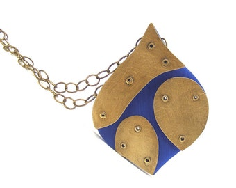 Oxidized Brass and Blue Resin Riveted Pendant - Exuberant