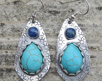 Turquoise Magnesite and Lapis Lazuli Sterling Silver Earrings