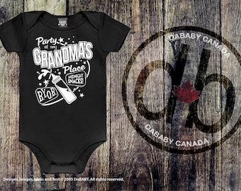 Party At My Grandma's Place, I Love Grandma T-Shirt, 50's Style Grandma Onesie, Newborn Baby Gift, Baby Shower Gift, Take Home Baby Outfit