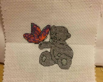 Handmade Tatty Teddy with Butterfly Cross Stitch