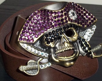 Purple Crystal Pirate Skull Antiqued Gold Bling Belt Buckle ECU
