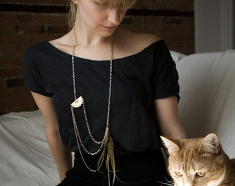 Xlong Statement Feather Necklace - Gold Neutral Feather Necklace - Neutral Feathers - Dylan Necklace