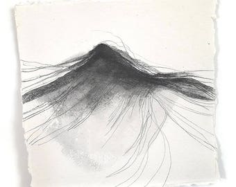 "Dark Wave - sea surf inspired original drawing 8""x8"""