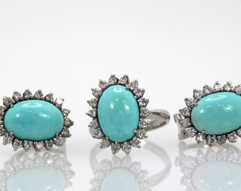 Estate Persian Turquoise set ring and matching earrings surround by diamonds 18+ carats