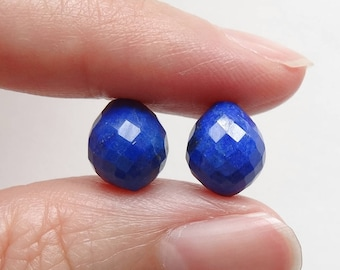 Blue Lapis Lazuli Faceted Half Drilled 8x9 mm Acorn with a pointy bottom One Pair J6223