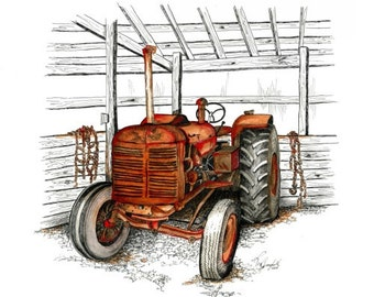 "Rusty, Tractor, Barn, Pen & Ink, ""Bryan's Favorite"" (Reproduction)"