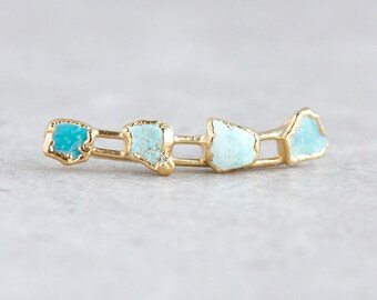 ear climber | ear crawler | turquoise ear cuff | raw turquoise earrings | turquoise studs | december birthstone studs | turquoise climber